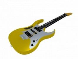 Yellow bass guitar 3d model preview