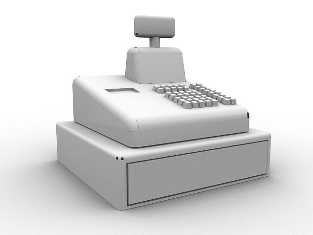 Cash register drawer 3d rendering