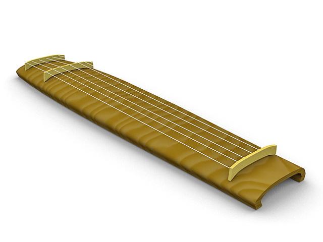 Seven-string Guqin 3d rendering