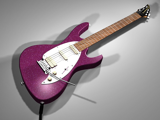 Purple electric guitar 3d rendering