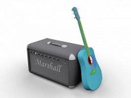 Guitar and amp 3d model preview