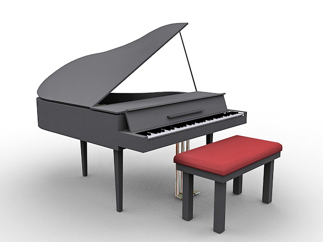Grand piano with bench 3d rendering