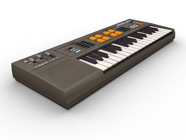 Casio electronic keyboard 3d rendering