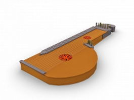 Zither instrument 3d model preview
