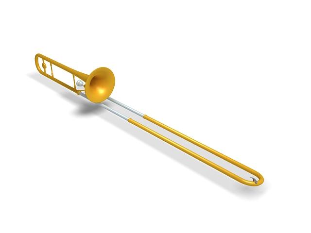 Tenor trombone 3d rendering