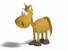 Funny donkey cartoon 3d model preview