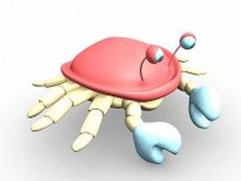Red crab cartoon 3d model preview
