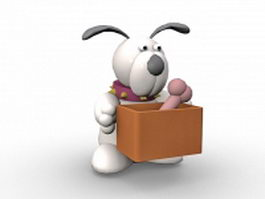 Cartoon dog with bone 3d preview