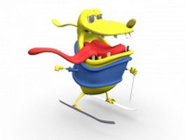 Cartoon dog skiing 3d preview