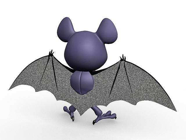 Cute bat cartoon 3d rendering