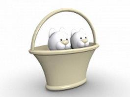 Cats in basket cartoon 3d model preview