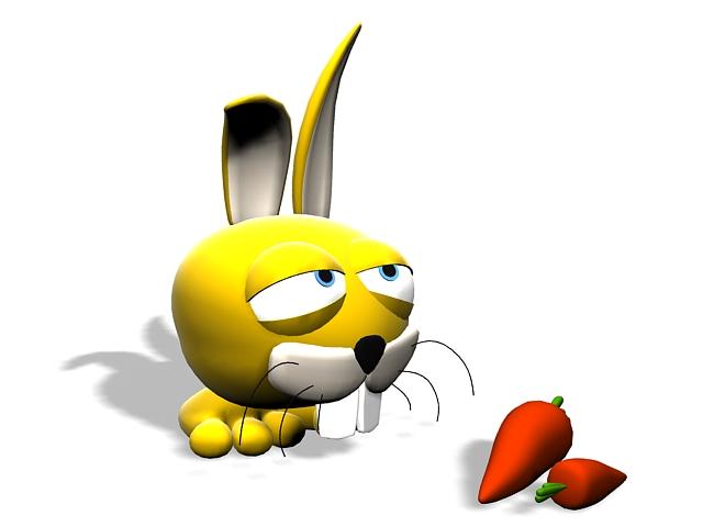 Cartoon rabbit with carrot 3d rendering