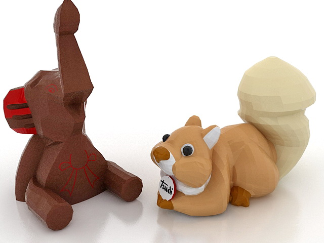 Elephant & squirrel toy 3d rendering