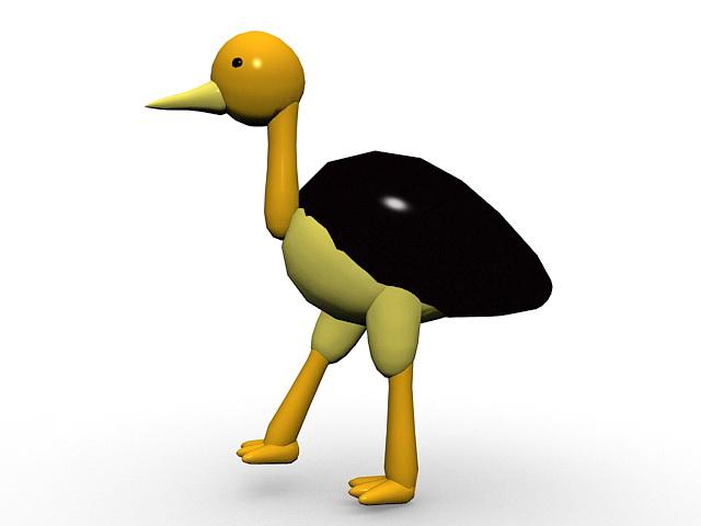 Cartoon ostrich 3d rendering