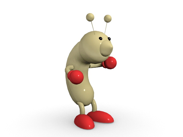 Cute cartoon worm 3d rendering
