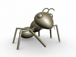 Cartoon black ant 3d model preview