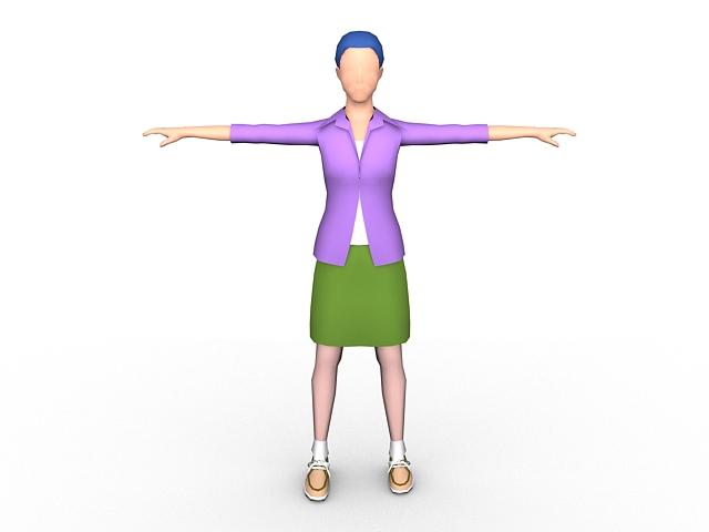 Cartoon woman rigged 3d rendering