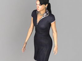 Casual Asian woman 3d model preview