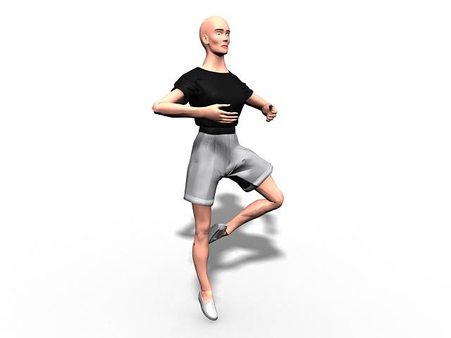 Male dancer 3d rendering