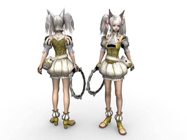Anime fighter girl 3d rendering