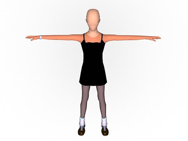 Female anatomy figure rigged 3d rendering
