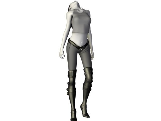 Steampunk girl 3d rendering