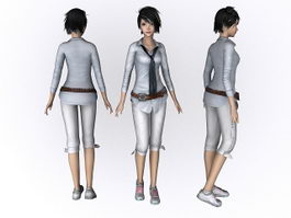 Beautiful girl character 3d model preview