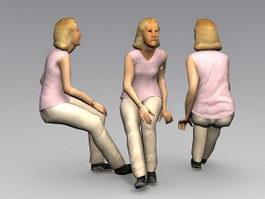 Elderly woman sitting 3d model preview