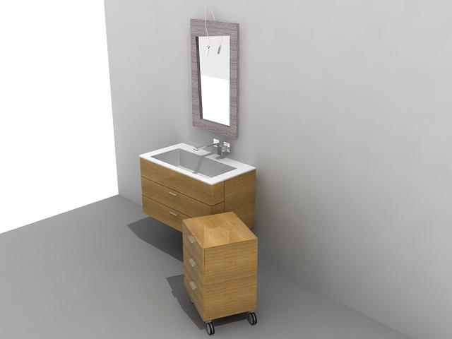 Single sink bathroom vanity with cabinet 3d rendering