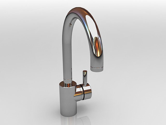Single handle gooseneck Kitchen Faucet 3d rendering