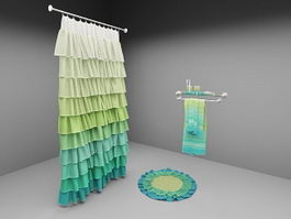 Shower curtain, rug and accessories 3d preview