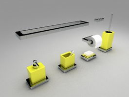 Yellow bathroom accessories sets 3d preview