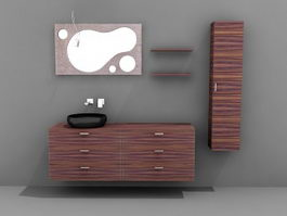 Modern bathroom vanity set 3d model preview