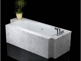 White marble bathtub 3d preview