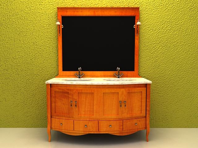 Vintage double sink bathroom vanity 3d rendering