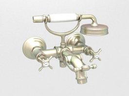Vintage bath shower mixer 3d preview