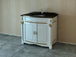 Antique wash basin cabinet 3d model preview