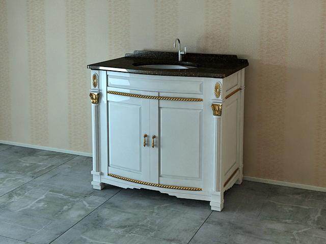 Antique wash basin cabinet 3d rendering