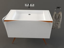 Bathroom basin sink cabinet 3d preview