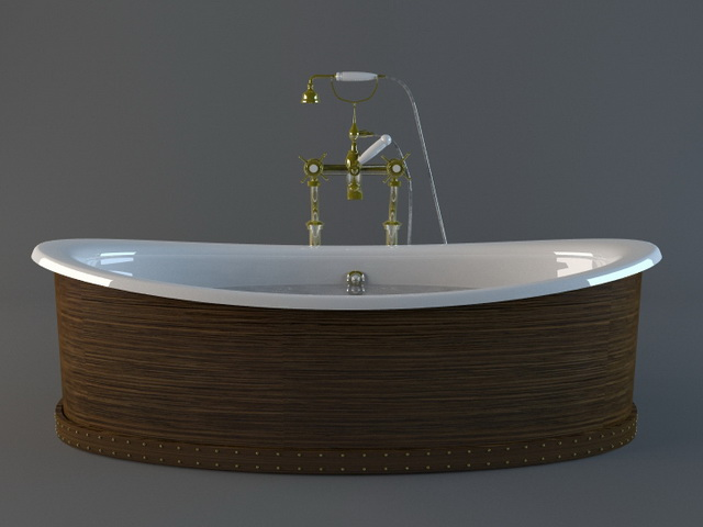Freestanding tub with wood surround 3d rendering