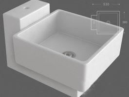 Wall mount laundry sink 3d preview