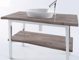 Modern farmhouse bathroom vanity 3d preview