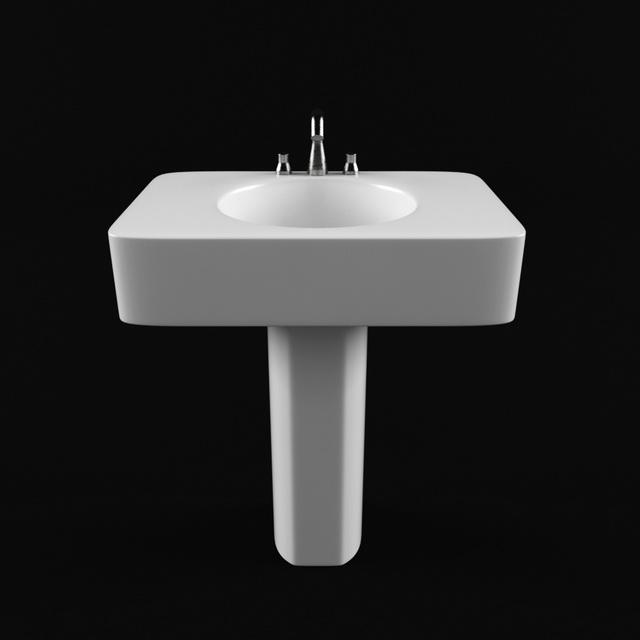 Pedestal wash basin 3d rendering