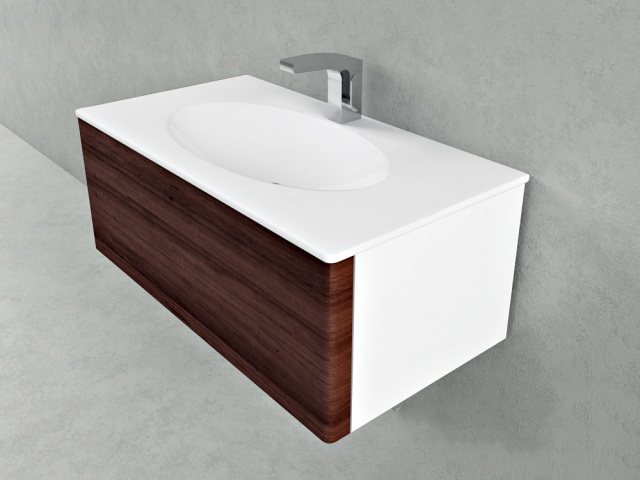 Wall mount single sink floating vanity 3d rendering