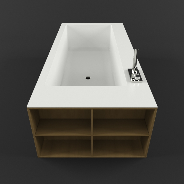 Wood surround bathtub 3d rendering