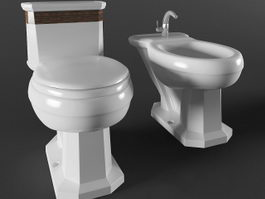 Retro bidet and toilet 3d preview