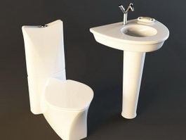 Wash basin and toilet sanitary ware set 3d preview