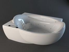 Corner whirlpool bathtub 3d preview