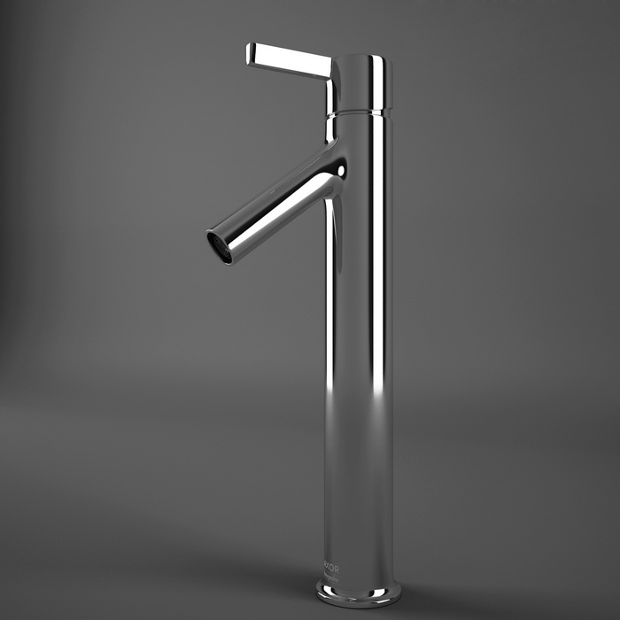Single hole vessel faucet 3d rendering