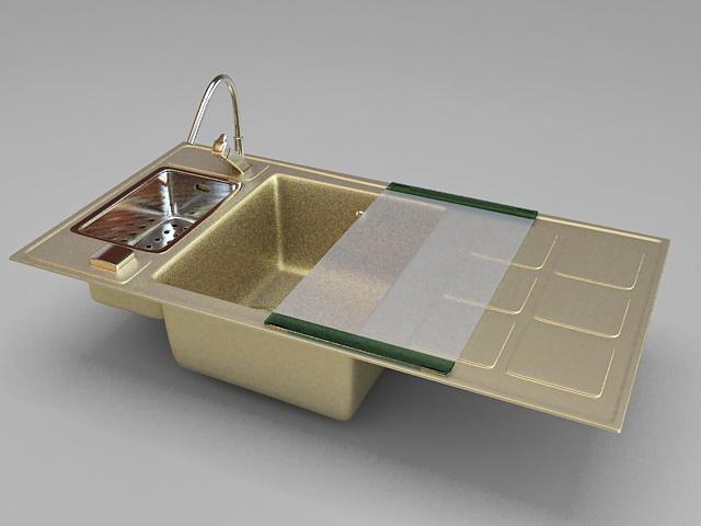 Brass kitchen sink 3d rendering